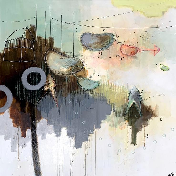 Casper Eliasen, DRIFTING AWAY 100x100 cm. 13.000 kr.
