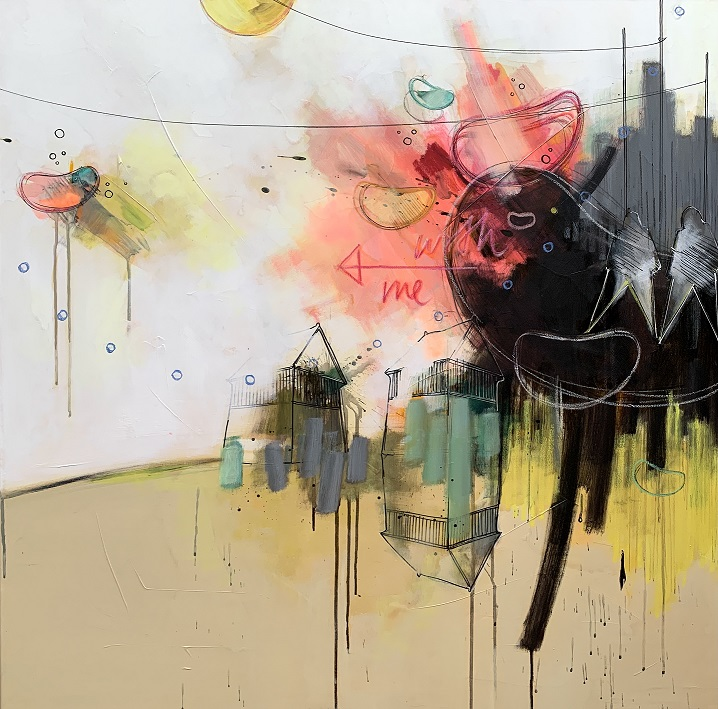 Casper Eliasen Love explosion 100x100 cm. 13.000 kr.