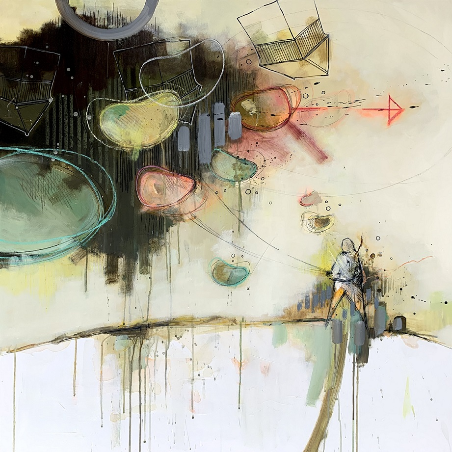 Casper Eliasen, The whole world in his hand. 100x100 cm. 13.000kr