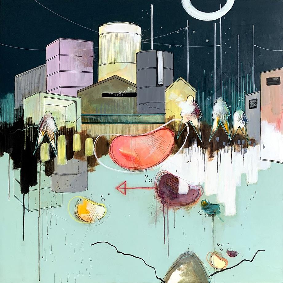 City At Night 100x100 cm. 13.000 kr. Casper Eliasen